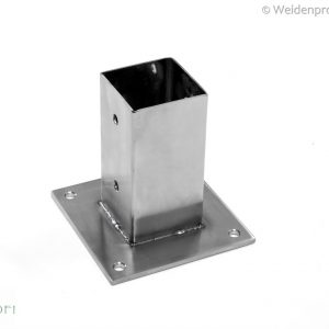 Edelstahl Aufschraubhülse für quadratische Pfosten 6 x 6 cm