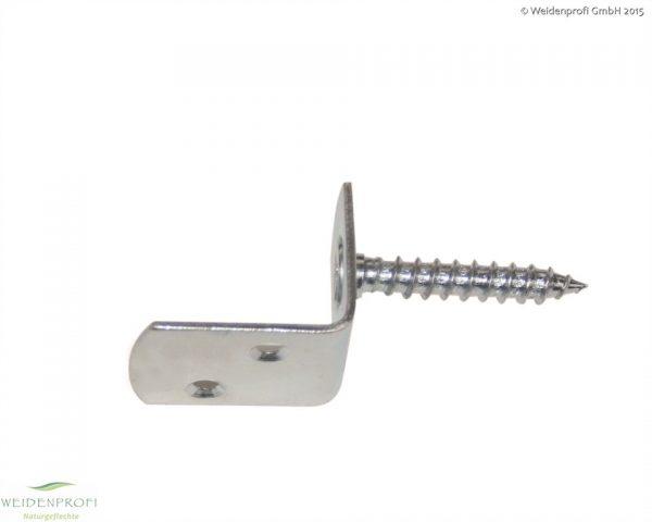 Flechtzaunhalter L-Form verzinkt 4 x 3,2 x 3 cm, Schraube 8 x 45 mm