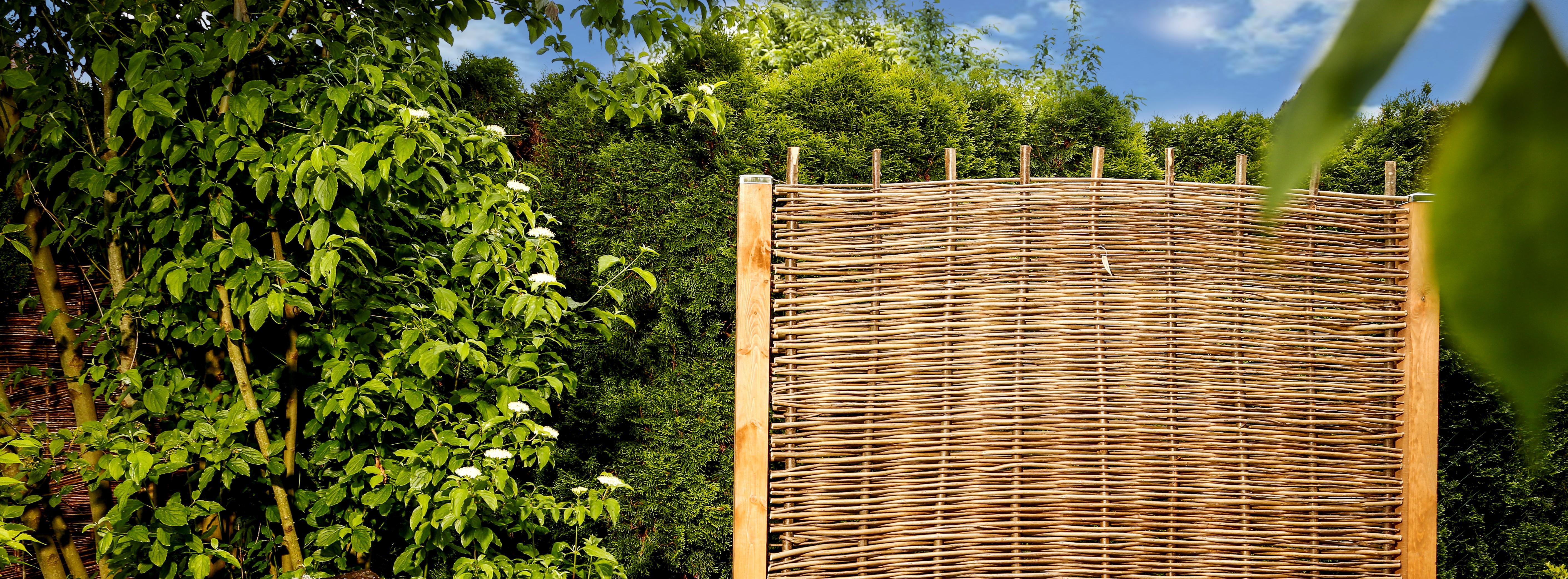 2 Größen Weidenzaun Flechtzaun Sichtschutz Gartenzaun Zaunelement Naturzaun